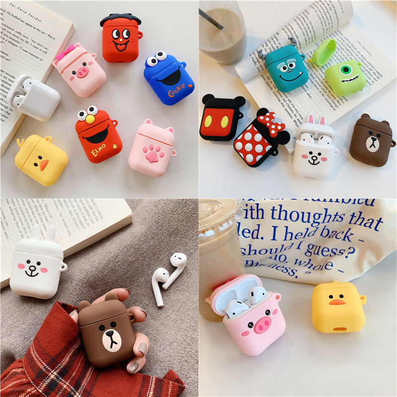 Bluetooth Earphone Case for Airpods 2 Accessories Protective Cover Bag Anti lost Strap Cute Cartoon Mini DIY Silicone Soft Cases-in Earphone Accessories from Consumer Electronics