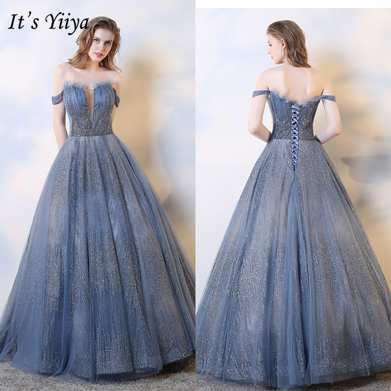 It's Yiiya Evening Dress 2019 Boat Neck Sequins Shinning Sleeveless Ball Gowns Elegant Lace Up Robe De Soiree Plus Size E1022