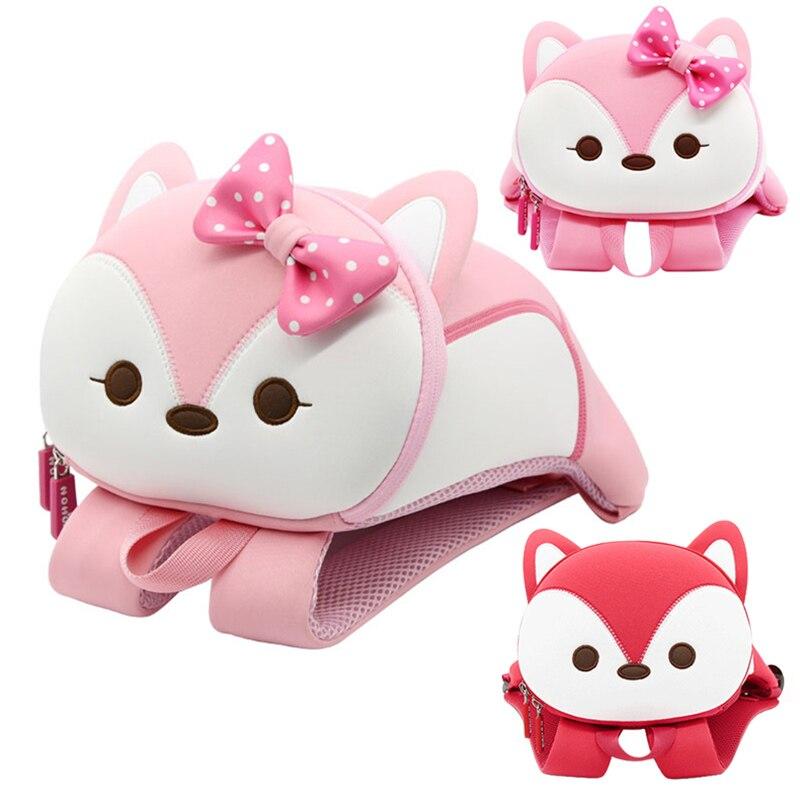 3D Cute Fox Kids School Bags For Girls Boys Toddler Children School Backpacks Cartoon Animals Backpacks Mochila Escolar