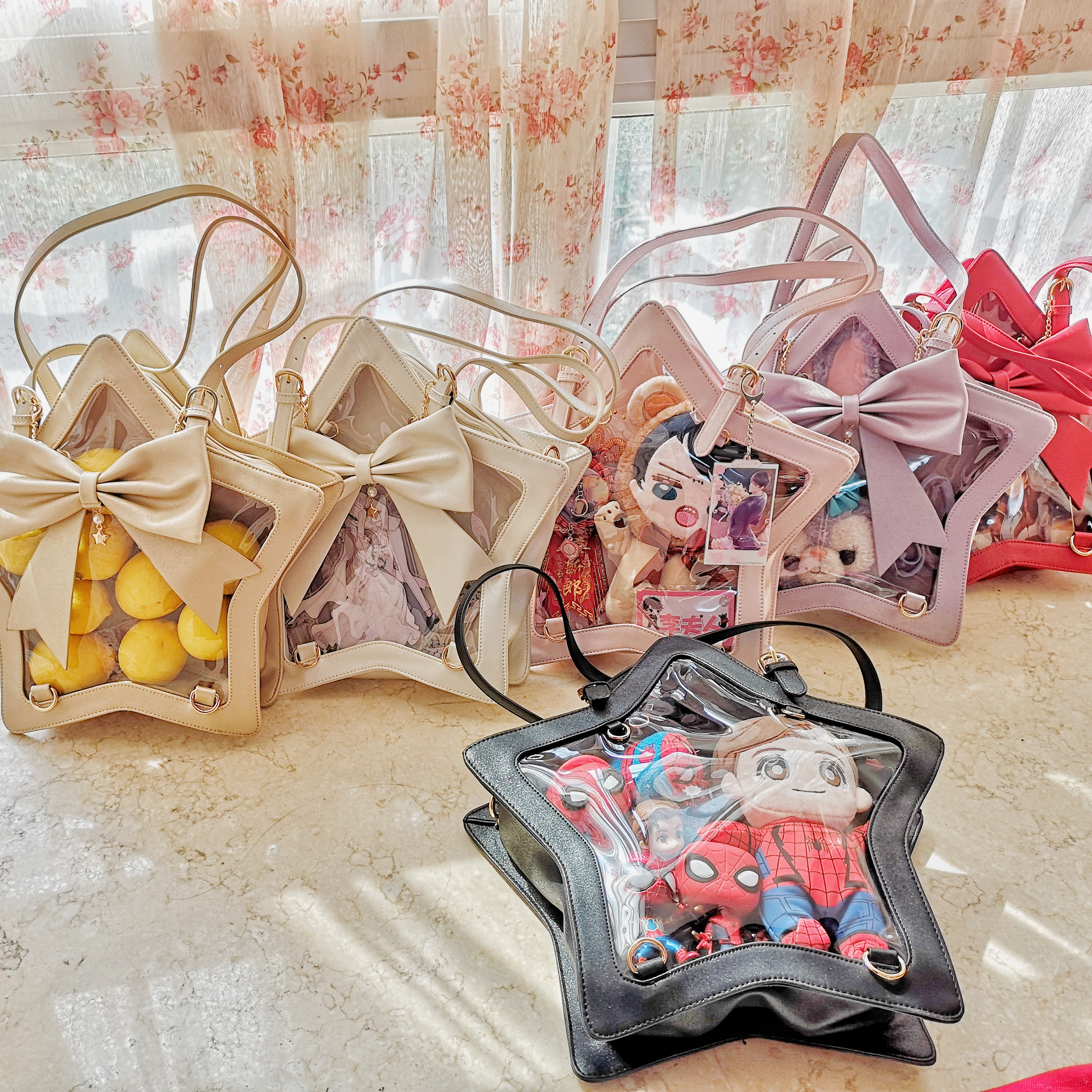 JK Uniform Harajuku Japanese Lolita Five-Pointed Star Transparent Itabag Shoulder Bag Handbag Cosplay Backpack Multifunction Bag