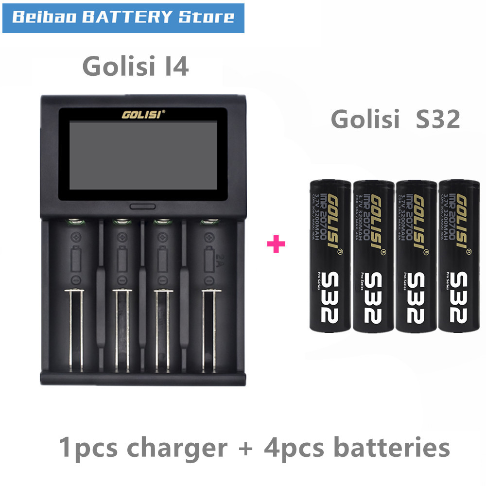 GOLISI S32 IMR 20700 batterie 3200mah akku für VAPE mit Golisi I4 Smart Ladegerät LCD Display 2A Schnelle lade