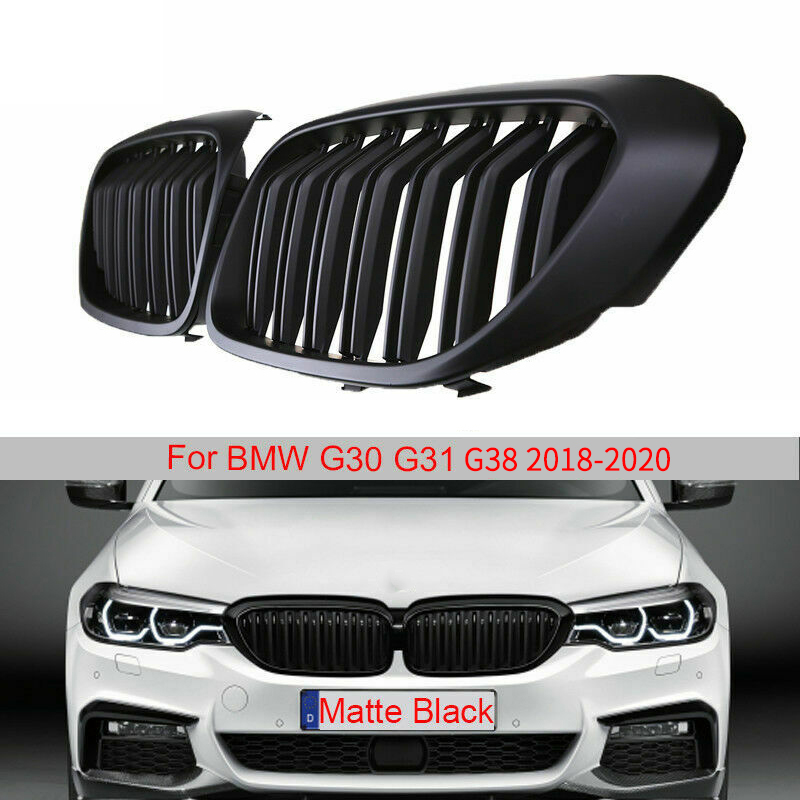 Matte Black Front Double Line Sport Kidney Grille <font><b>Grill</b></font> for BMW 5 Series <font><b>G30</b></font> G38 2018-2020 image