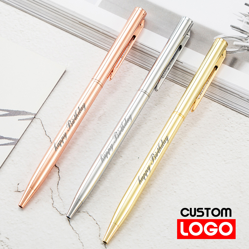 New Metal Ballpoint Pen Rose Gold Pen Custom Logo Advertising Ballpoint Pen  Lettering Engraved Name School&office Supplies