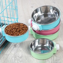 Stainless Steel Can Be Fixed Pet Bowl Candy Color Cage Cat Food Dog Hanging Stomach Feeder