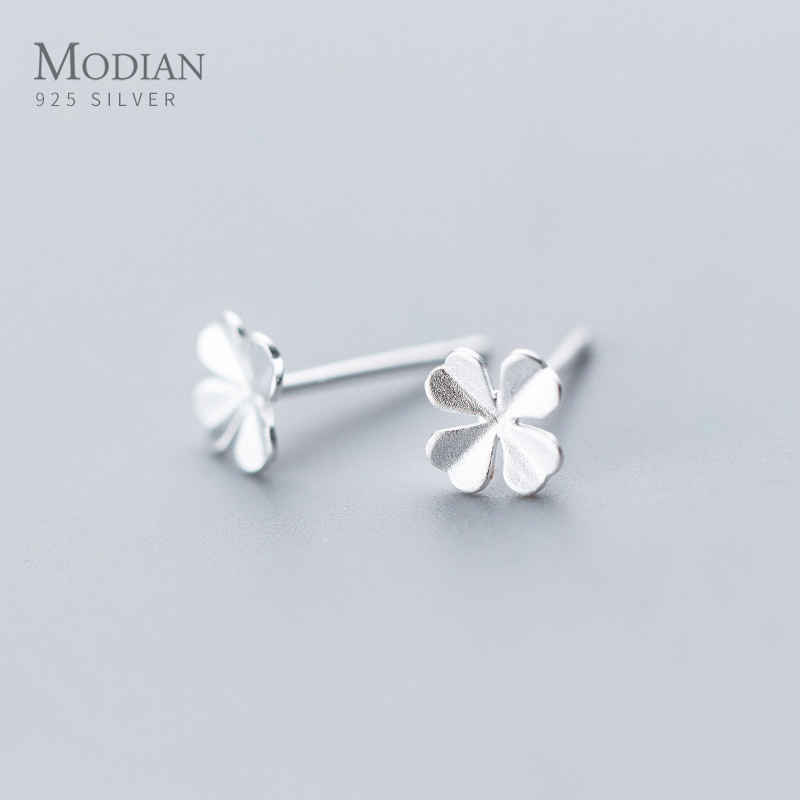 Modian 925 Sterling Silver Fashion Simple Lucky Four Clover Stud Earrings For Women Jewelry Korean Style Fine Silver Jewelry