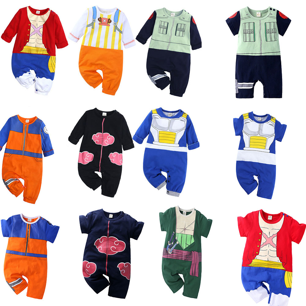 Anime Cosplay Baby Rompers Short/Long Sleeve Akatsuki Kakashi One Piece Luffy Soro Costume Jumpsuit For Newborn Infant Boys