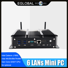 EGLOBAL Industrial Fanless Mini Computer Intel i5 8265U 6 Lans Firewall Router Pfsense PC 2*RS232 4*USB3.0 HDMI 4G/3G AES-NI