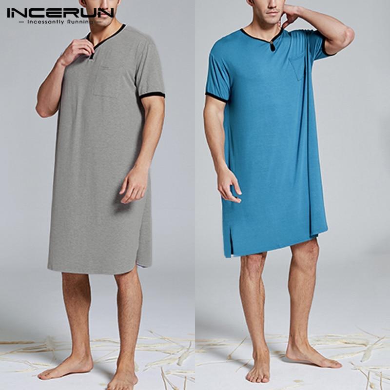 Men Sleep Tops Short Sleeve 2020 Summer Homewear Loose Breathable Long Casual V Neck Men Sleepwear INCERUN Plus Size Long Blusas