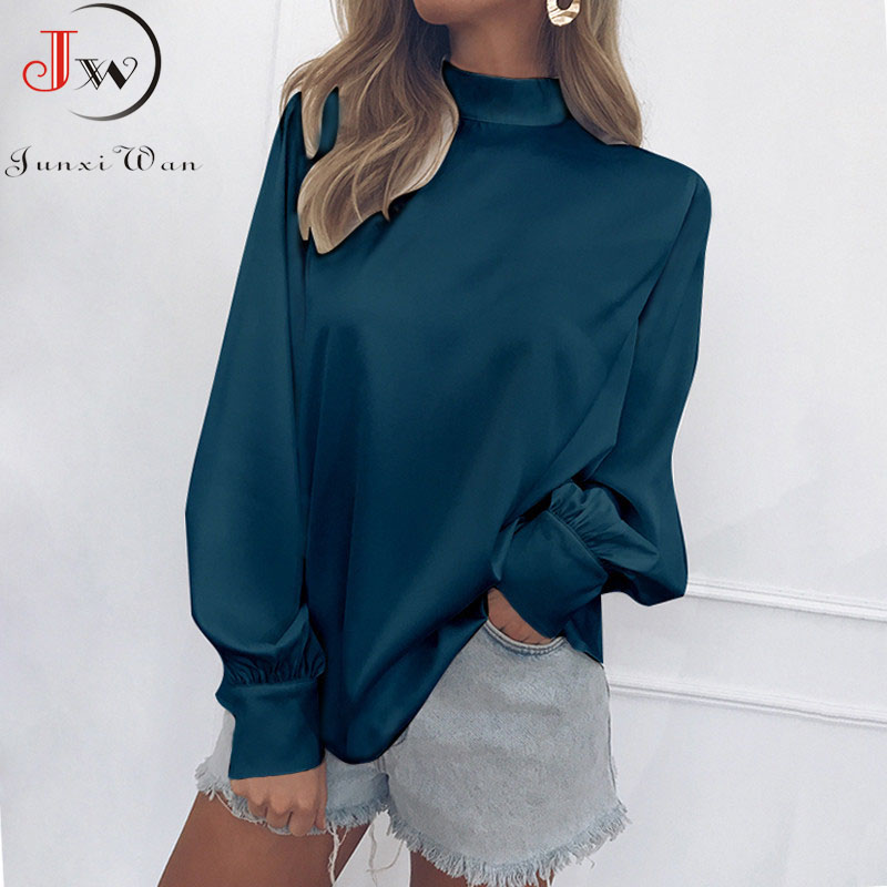 Women Blouse 2019 Autumn Solid Color Turtleneck Tops Blouses Casual Lantern Long Sleeve Fashion Office Ladies Shirt Plus Size