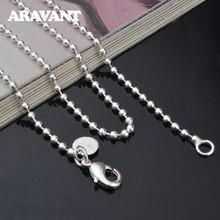 925 srebro 2mm koralik naszyjniki łańcuszki dla kobiet biżuteria ślubna prezenty