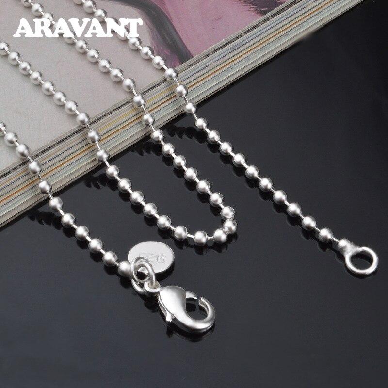 Colliers et chaînes de perles en argent 925, 2mm, pour femmes, bijoux de mariage, cadeaux
