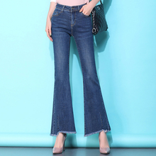 HIgh Quality 2020 Women Boot Cut Jeans Stretch Flared Jeans Beautiful Blue Wide Leg Zipper Washed Retro Denim Trousers Plus Size