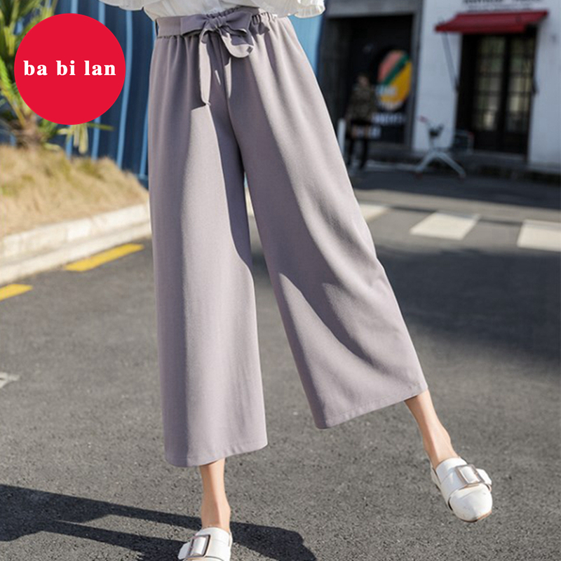 2020Plus Size Women High Waist Pants  Fashion Wide Leg Pants Casual  Flare High Waist Pants