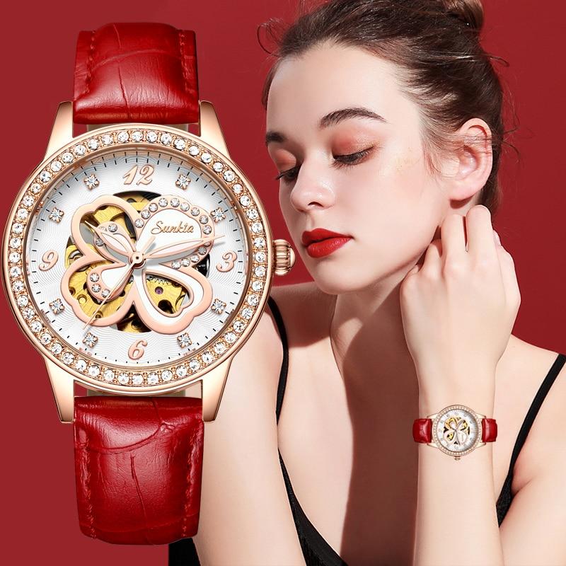 SUNTKA New Leather Automatic Watch Women's Brand Luxury Watch Elegant Dress Diamond Wrist Watches Ladies Casual Waterproof Clock