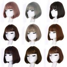 Yiyaobess синтетический короткий боб парики для женщин натуральные волосы Коричневый Черный Ротанг Лен серый парик с корейской воздушной челкой 12 дюймов