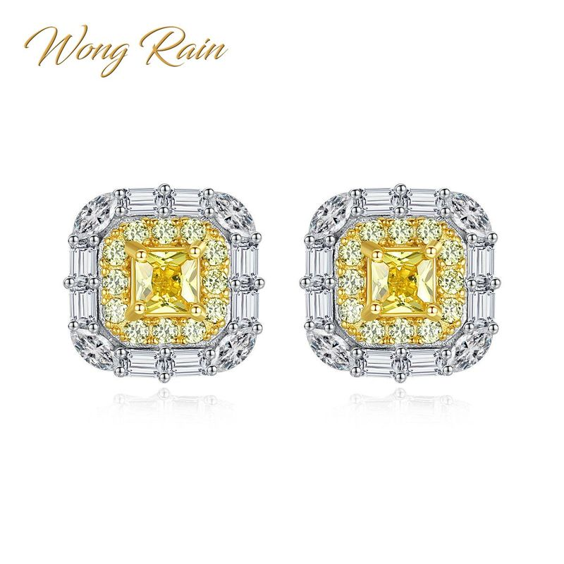 Wong Rain Chic 100% 925 Sterling Silver Created Moissanite Citrine Gemstone Earrings Ear Stud Wedding Fine Jewelry Wholesale