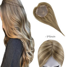 Topper Hair Highlight Blonde Brazilian-Hair Women Clip-In for Machine Remy Brown Wig