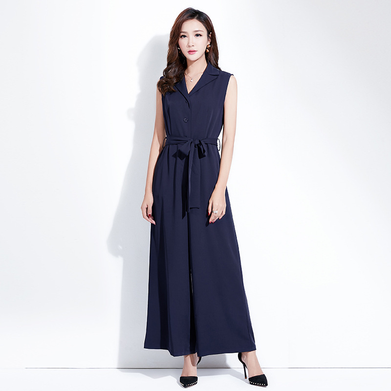 2019 Summer New Style WOMEN'S Dress Europe And America Onesie Fold-down Collar Gauze Button Down Wide-Leg Capri Pants Set Women'