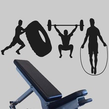 Crossfit Athlete Fitness Removable Decals Garage Gym Wall Stickers Vinyl Decorate Workout Poster Murals LW380