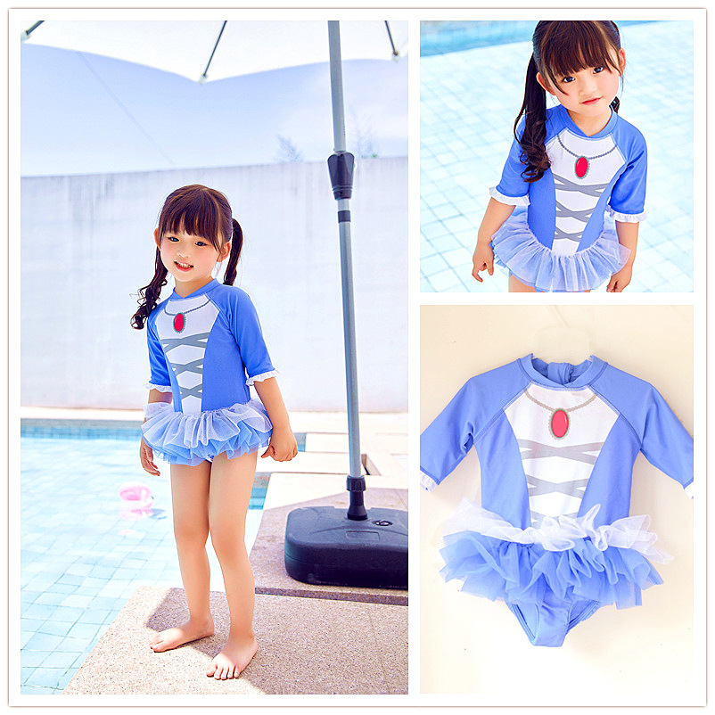Small Children Baby GIRL'S Cold Sun-resistant Long Sleeve Hot Springs Zipper Puffy Mesh Dress-CHILDREN'S One-piece KID'S Swimwea