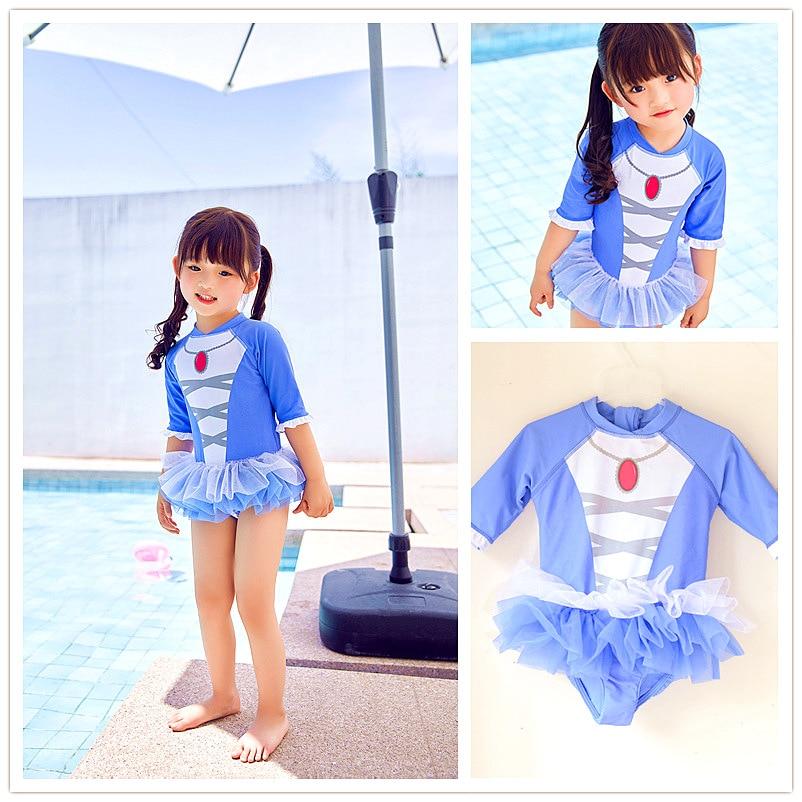 Small Children Baby GIRL'S Cold Sun-resistant Long Sleeve Hot Springs Zipper Puffy Mesh Dress-CHILDREN'S One-piece KID'S Swimwea