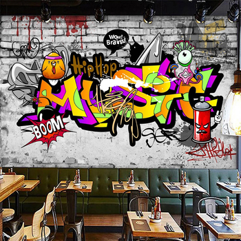 Custom 3D Poster Photo Wallpaper Street Graffiti Art Wall Painting Living Room Home Improvement Cafe Restaurant Bar KTV Mural 3D custom 3d mural 3d stereo personality ktv bar background wall mural wallpaper graffiti music symbol mural for ktv bar