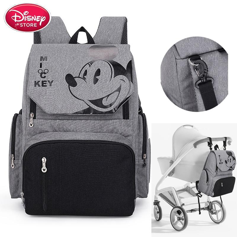 Disney Diaper Bag Backpack Mickey Mouse Disney Mummy Bag Maternity For Baby Care Nappy Bag Travel Stroller Handbag Free Hooks