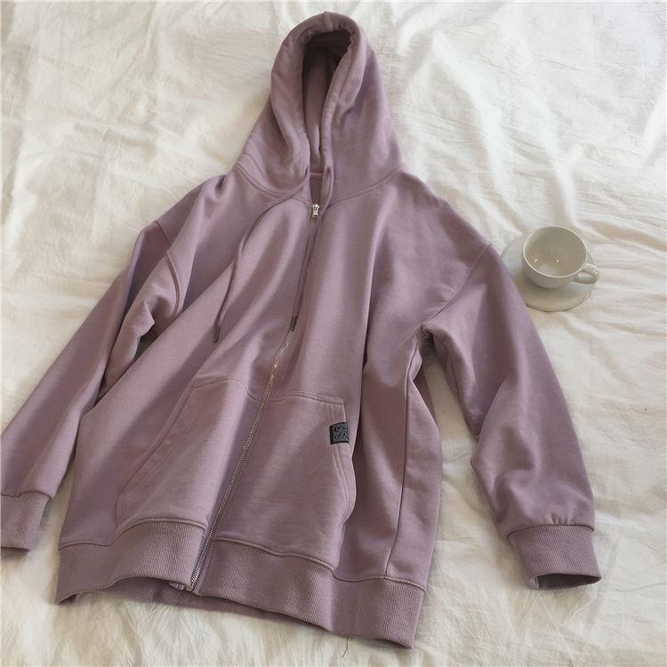 Hc19ec58db5dd4b589560e905c3e47643C Harajuku with hat hoodies women zipper kangaroo pocket casual loose solid color sweatshirt female 2020 fashion new female s