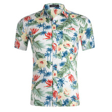 S-2XL New Summer Fashion Mens Shirt Slim Fit Short Sleeve Floral Clothing Trend Plus Size Casual Flower Shirts