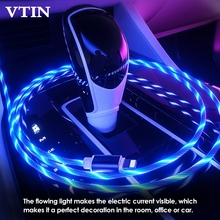 Magnetic Flowing LED Micro USB Cable Lighting fast Charging Charger for iPhone Huawei Samsung