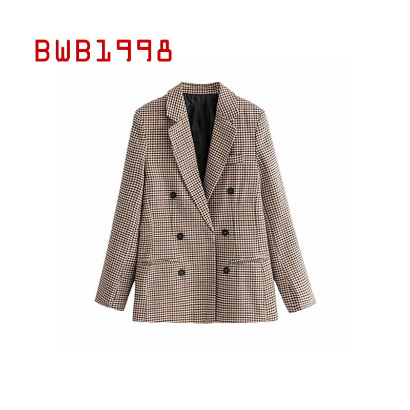BWB1998 Autumn Blazer Women Clothing European and American Women's Suit Jacket New Plaid Double-breasted Plaid Jacket Blazer