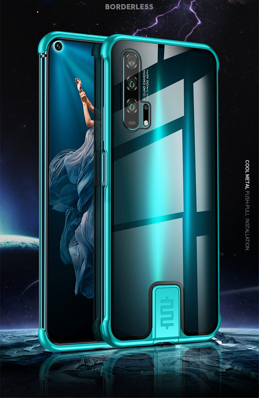 R-just Borderless Series Metal Frame Phone Case For Huawei Honor 20 Protect Case Glass Back Cover Cases For Huawei Honor 20 Pro (1)
