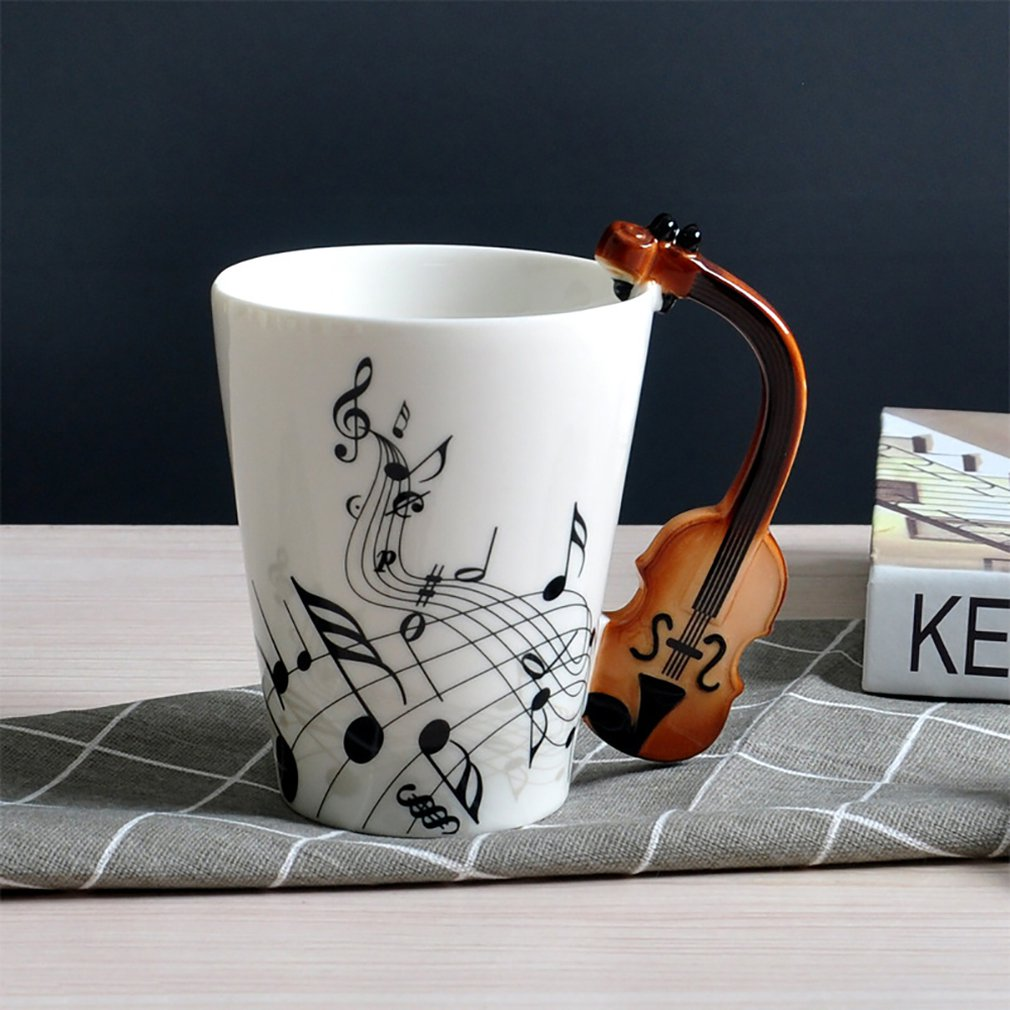 Ceramic Mug Cup Musical Instrument Note Style Coffee Milk Cup Christmas Gift /&~