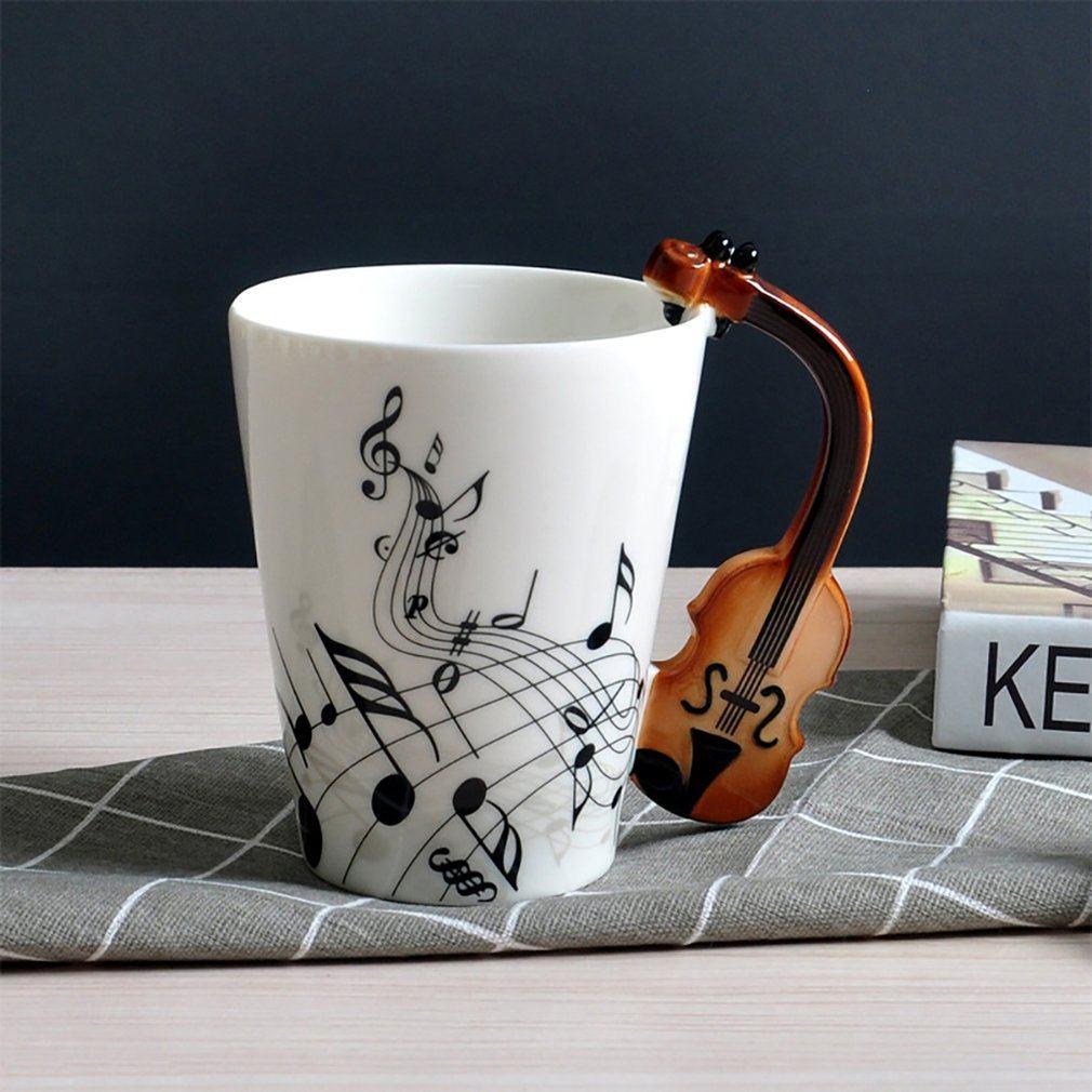 Guitar/Violin Shape Handle Cup Art Ceramic Mug Musical Instrument Note Style Coffee Milk Christmas Gift Home Office Drinkware