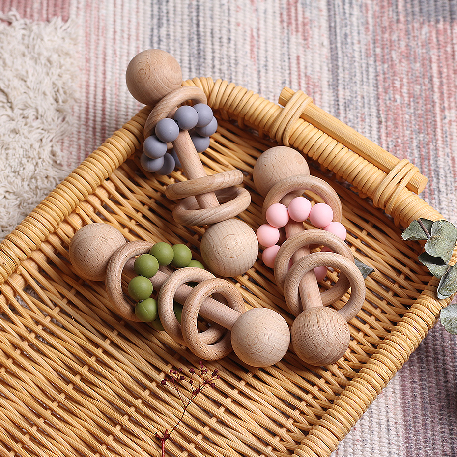 Babies Can Chew Bracelets Babies Mobile Wooden Rattle Baby Toys  Can Chew Bisphenol A Free Christmas Gifts