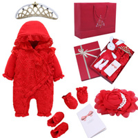 Newborn Baby Clothing Baby Girls Clothes Set 3D Shabby Rose Lace Rabbit Jumpsuit Romper Boy Girl Crown Rhinestones 0 3 Months