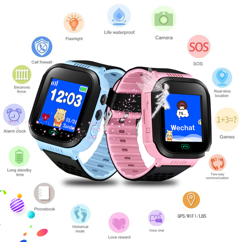 2019 New Lovely Smart Watch For Kids Mobile Phone Monitoring SOS Positioning Security Call Wrist Watch And Flashlight For Kids