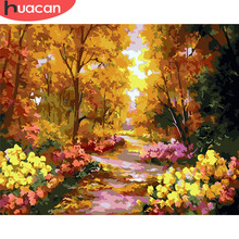 HUACAN Paint By Numbers Flower Scenery Kits Drawing Canvas HandPainted Gift DIY Oil Painting Landscape Pictures Home Decor