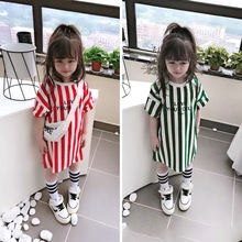 Cute letter printed short-sleeved dress children summer sports vertical striped dress 2 to 8 years old girls clothes street focu vertical striped frill embroidered tape detail dress