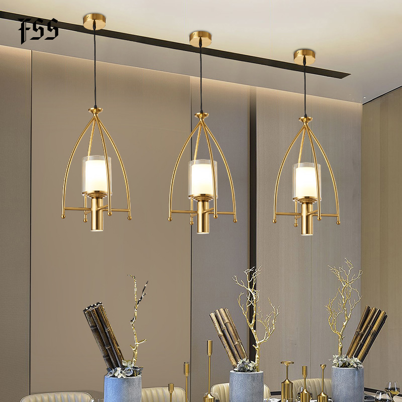 FSS Glass Gold Pendant Lights Creative Indoor Lights Bar Kitchen Island Indoor Lighting Fixtures AC 110-240V