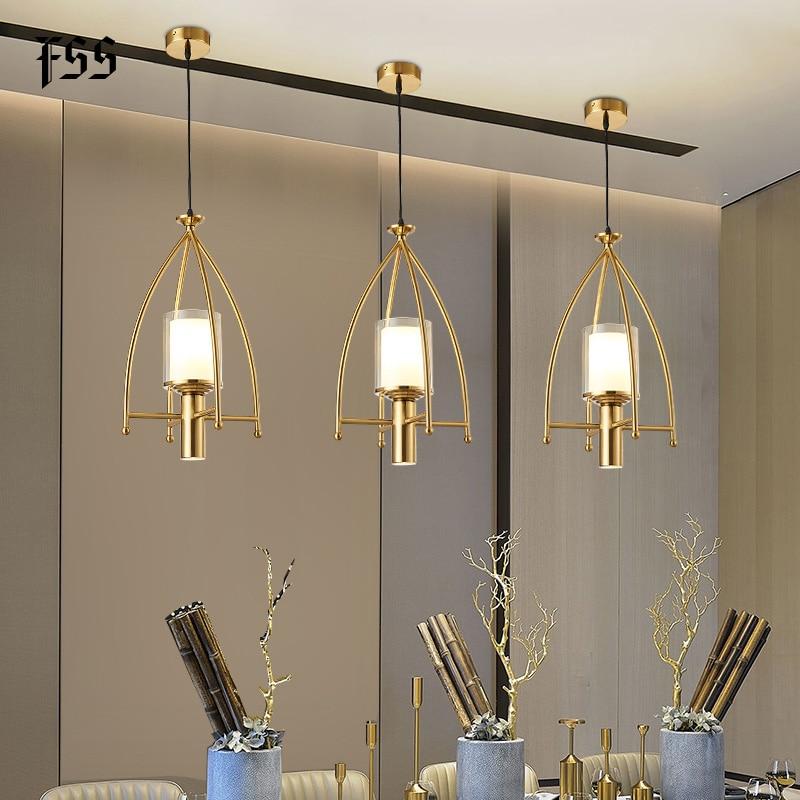fss glass gold pendant lights creative indoor lights bar kitchen island indoor lighting fixtures ac 110 240v