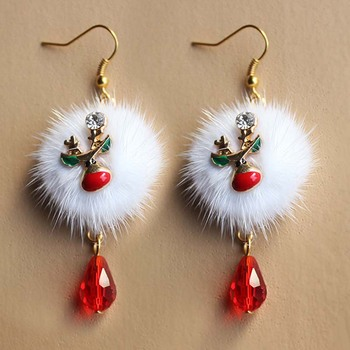 2021 New Year Gift Santa Claus Snowman Plum Deer White Velvet Ball Red Crystal Earring Pendant Long Earrings For 2020 Christmas image