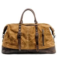 MUCHUAN Männer Reisetaschen M Hand Gepäck Taschen Leinwand Leder Travel Duffel Taschen Schulter Taschen Große Kapazität Wochenende Über Nacht