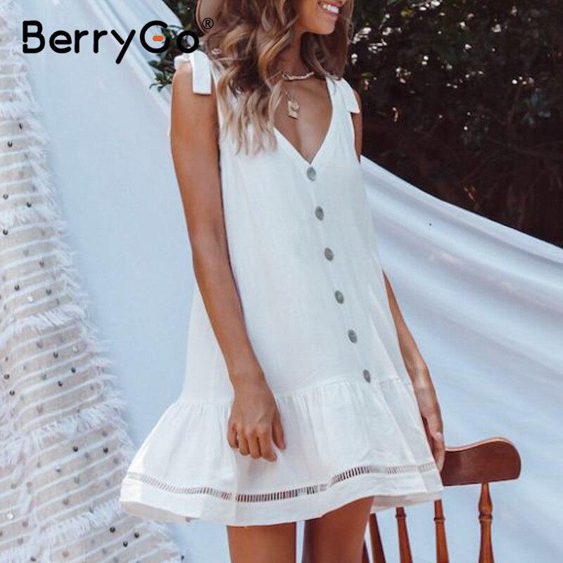 BerryGo Casual Sleeveless White Cotton Linen Dress Women Hollow Out V Neck Tank Summer Dress Buttons Strap Holiday Beach Dress