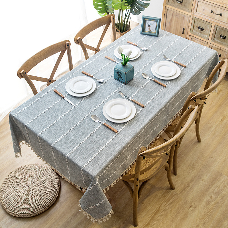 Solid Decorative Linen Tablecloth With Tassel Waterproof Thicken Rectangular Wedding Dining Table Cover Tea Table Cloth