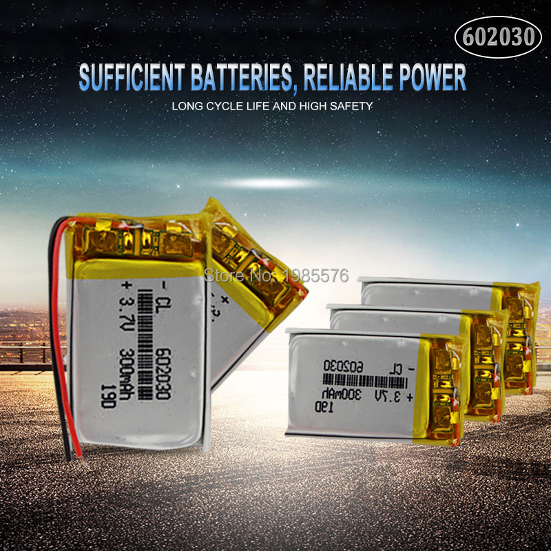 <font><b>602030</b></font> 3.7v 300mah lithium polymer rechargeable batteries For Smart Watch Bluetooth Speaker MP4 Selfie stick smartwatch battery image