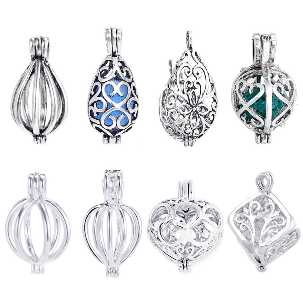 pulsera charms 5pcs Mixta forma aleaci/ón perlas colgantes de jaula relicario en forma de difusor de aceite esencial