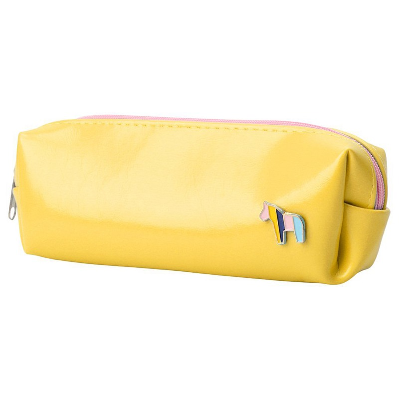 Lovely Girl Lady's Faux Leather Cosmetic Pen Pencil Stationery Pouch Bag Case (Yellow)