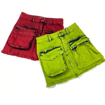 Ladies Casual Jeans Skirts 2020 Summer New Arrival Designer Fashion High Waist Solid Green Red Tassles