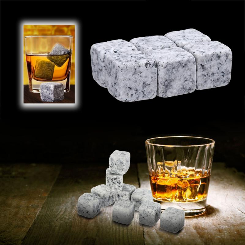 6pcs/set Natural Whiskey Ice Stones Reusable Wine Drinks Cooler Ice Cubes Granite Cooling Gadgets Bar Tools Barware Free Bag New(China)